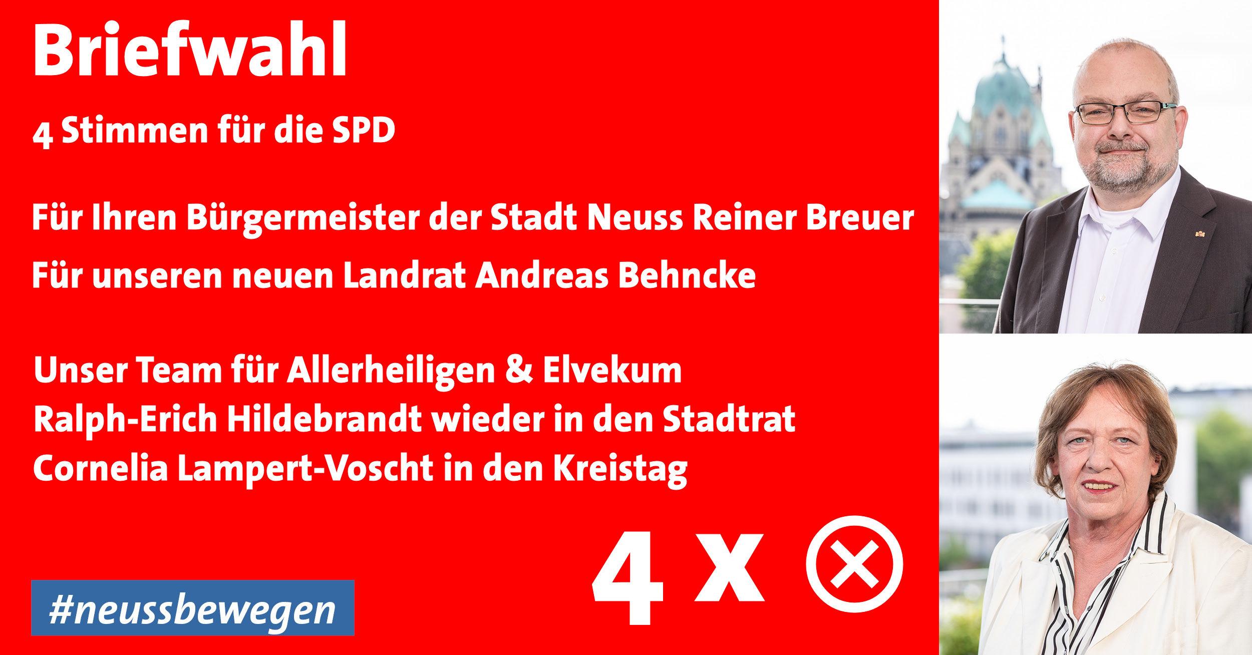 Briefwahl in Allerheiligen & Elvekum - 4x SPD wählen