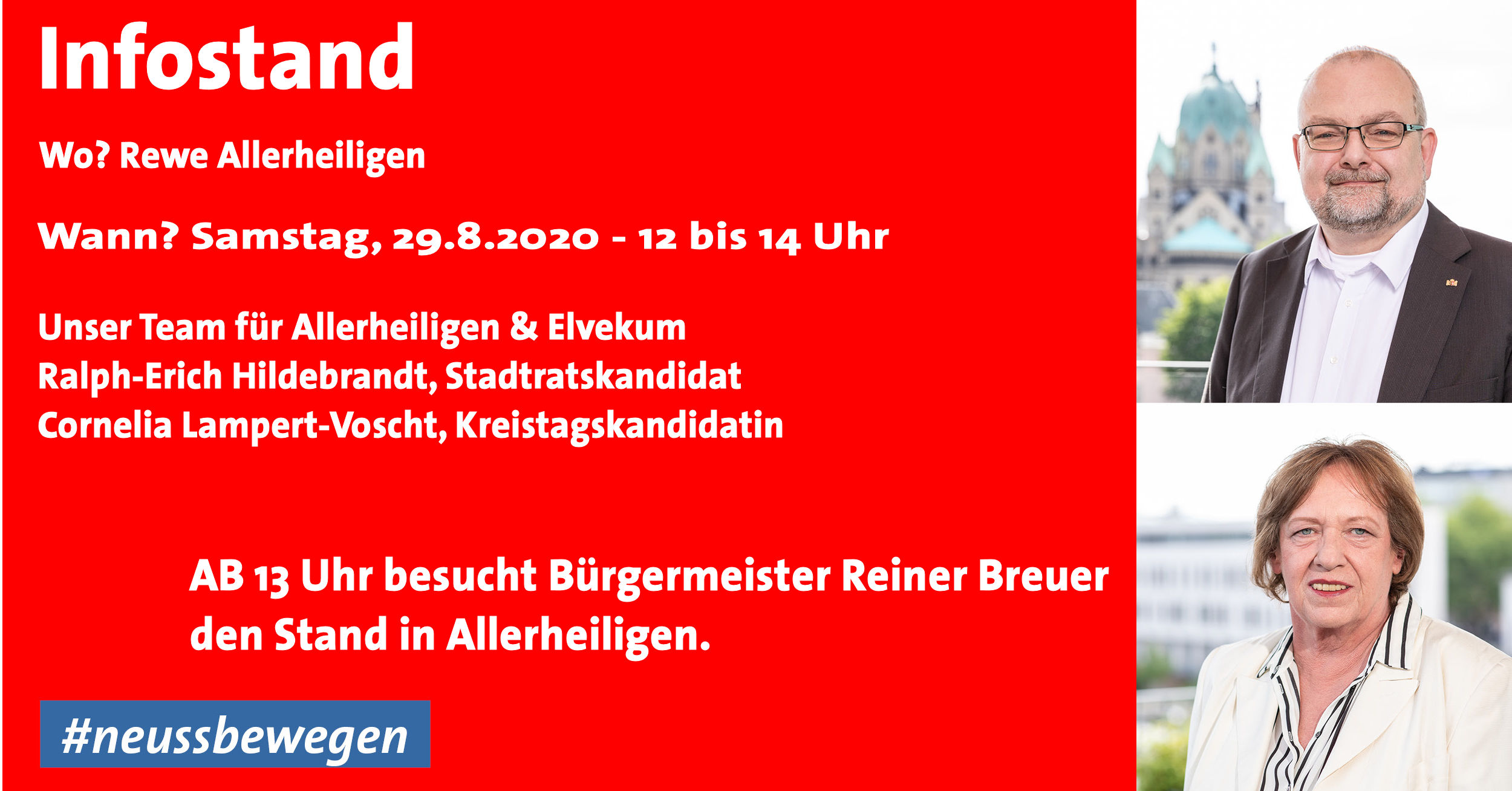 Infostand am 29.8.2020 von 12 bis 14 - ab 13 Uhr mit Bürgermeister Reiner Breuer